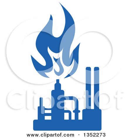 Clipart of a Silhouetted Blue Natural Gas and Flame Factory - Royalty Free Vector Illustration by Vector Tradition SM