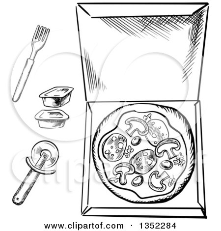 Clipart of a Black and White Sketched Pizza in a Box, Cutter, Dipping Sauce and Fork - Royalty Free Vector Illustration by Vector Tradition SM