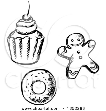 Clipart of a Black and White Sketched Cupcake, Gingerbread Man Cookie and Donut - Royalty Free Vector Illustration by Vector Tradition SM