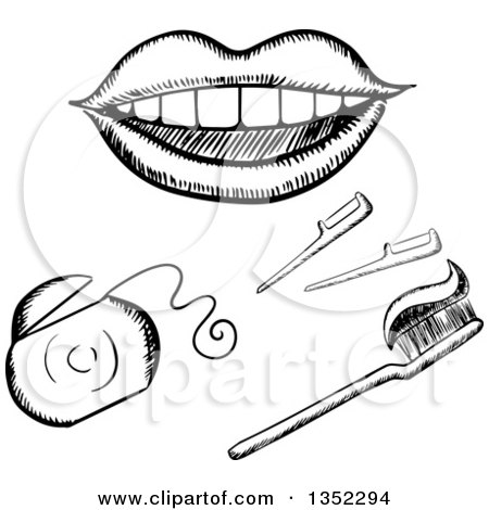 Clipart of a Black and White Sketched Mouth, Floss, and Toothbrush - Royalty Free Vector Illustration by Vector Tradition SM