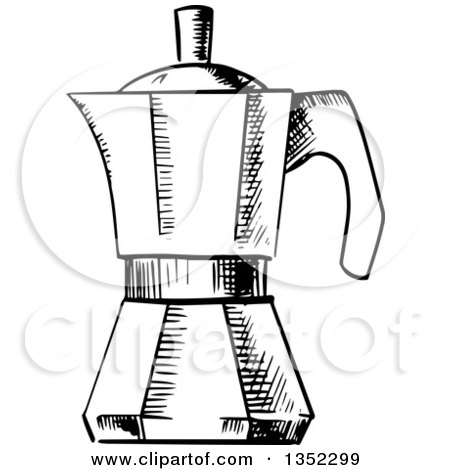 Clipart of a Black and White Sketched Italian Coffee Maker - Royalty Free Vector Illustration by ...