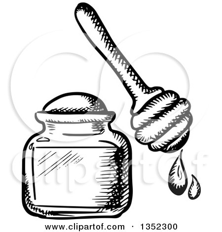 Clipart Of A Sketched Honey Jar And Dipper Royalty Free
