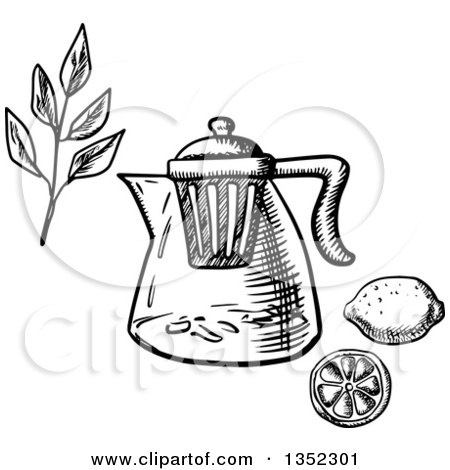 Black and White Sketched Teapot with Infuser Strainer, Tea Branch, and Lemon Posters, Art Prints