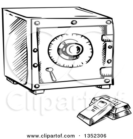 Clipart of a Black and White Sketched Safe and Bullion ...