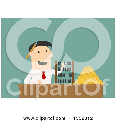 Clipart of a Flat Design White Businessman Counting Coins and Using an Abacus, over Green - Royalty Free Vector Illustration by Vector Tradition SM