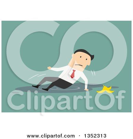 Clipart of a Flat Design White Businessman Slipping on a Banana and Falling in a Puddle, over Green - Royalty Free Vector Illustration by Vector Tradition SM