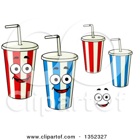 Clipart Of Cartoon Striped Fountain Soda Cups And A Face