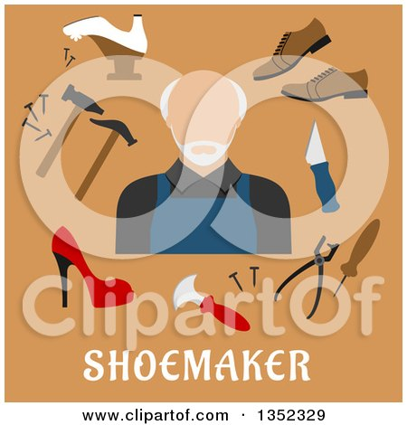 Clipart of a Flat Design Senior White Male Shoe Maker with Tools over Text on Brown - Royalty Free Vector Illustration by Vector Tradition SM