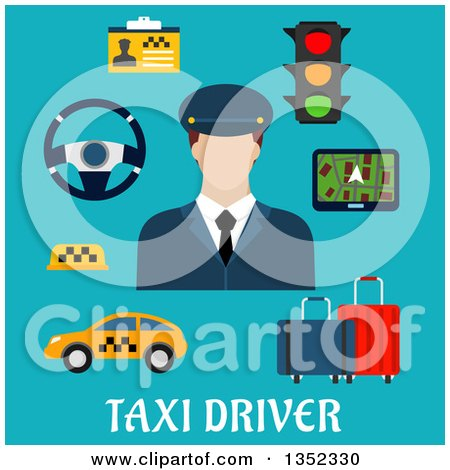 Clipart of a Flat Design White Male Cab Driver with Items over Text on Blue - Royalty Free Vector Illustration by Vector Tradition SM
