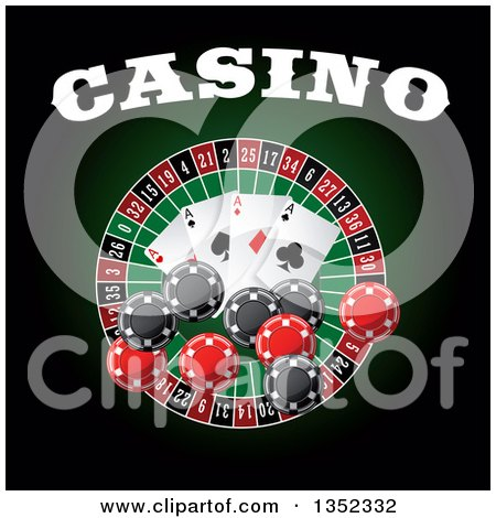 Clipart of a Casino Roulette Wheel with Poker Chips, Playing Cards and Text on Dark Green and Black - Royalty Free Vector Illustration by Vector Tradition SM