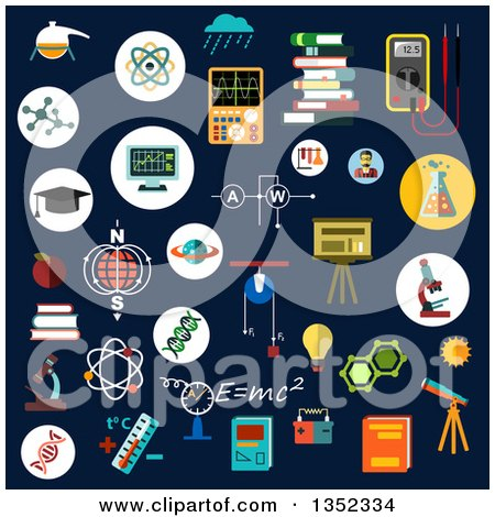 Clipart of Flat Design Chemistry, Physics, and Science Icons on Dark Blue - Royalty Free Vector Illustration by Vector Tradition SM