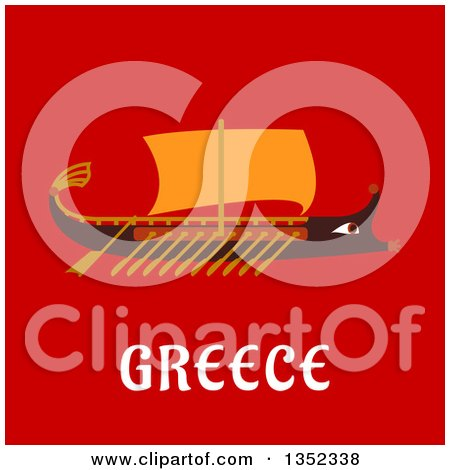 Clipart of a Flat Design Wooden Rowing Warship over Greece Text on Red - Royalty Free Vector Illustration by Vector Tradition SM