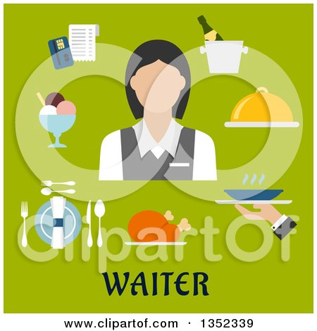 Clipart of a Flat Design Caucasian Female Waiter Avatar with Items over Text on Green - Royalty Free Vector Illustration by Vector Tradition SM