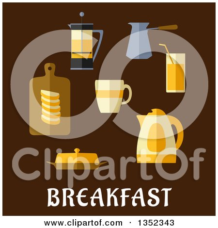 Clipart of a Flat Design Coffee, Tea, Juice, Butter, Sliced Bread and Electric Kettle over Text on Brown - Royalty Free Vector Illustration by Vector Tradition SM