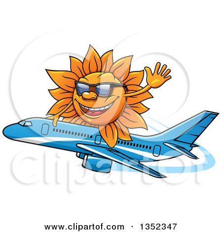 Clipart of a Cartoon Sun Character Wearing Shades, Waving and Riding a Commercial Airliner Plane - Royalty Free Vector Illustration by Vector Tradition SM