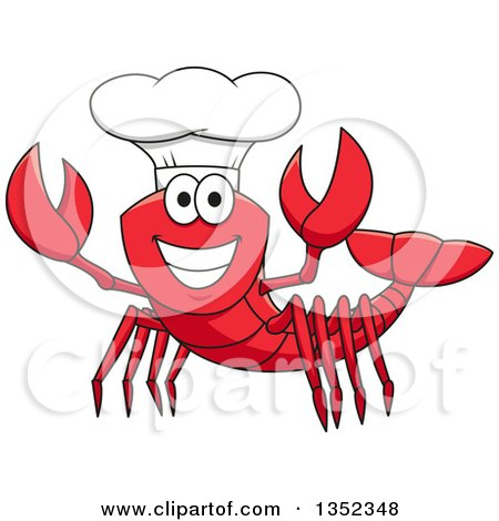 Clipart of a Cartoon Happy Lobster Chef - Royalty Free Vector Illustration by Vector Tradition SM