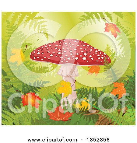 Clipart of a Fly Agaric Mushroom with Autumn Leaves in a Forest - Royalty Free Vector Illustration by Pushkin