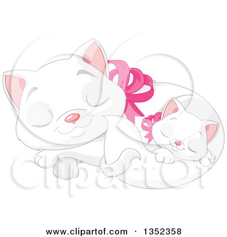 Clipart of a Cute White Kitten Sleeping with Its Mother - Royalty Free Vector Illustration by Pushkin