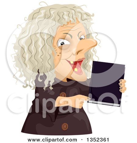 Clipart of a Scary Old Hag Woman Holding a Spell Book - Royalty Free Vector Illustration by BNP Design Studio