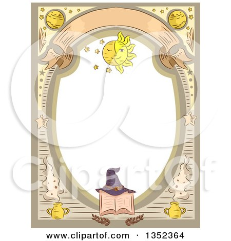 Clipart Of A Witchcraft Frame With A Hat On A Spell Book Royalty Free Vector Illustration