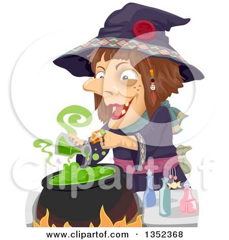 Clipart of a Witch Making a Potion - Royalty Free Vector Illustration by BNP Design Studio