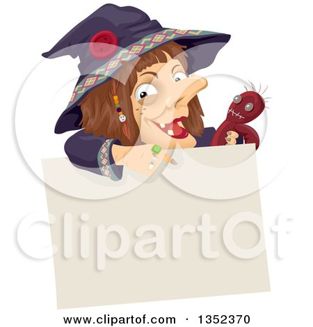 Clipart of a Witch Holding a Voodoo Doll and Pointing down over a Blank Sign - Royalty Free Vector Illustration by BNP Design Studio