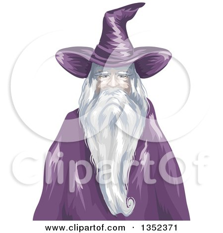 Clipart of a Gray Old Wizard in Purple - Royalty Free Vector Illustration by BNP Design Studio