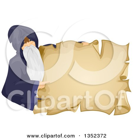 Clipart of a Senior Male Wizard Pointing and Holding a Parchment Sign - Royalty Free Vector Illustration by BNP Design Studio
