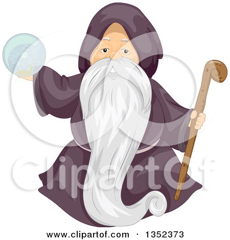 Clipart of a Male Senior Wizard Holding a Staff and Crystal Ball - Royalty Free Vector Illustration by BNP Design Studio