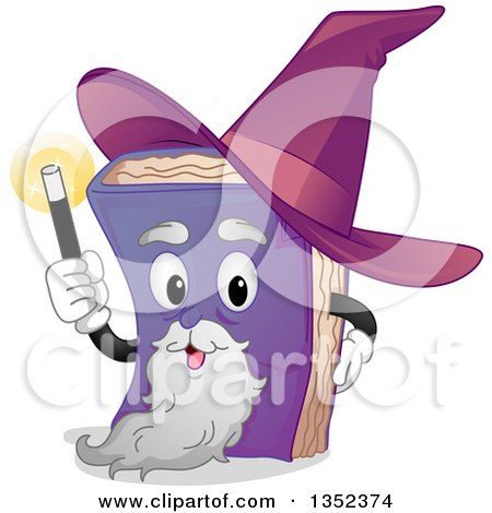 Clipart of a Wizard Book Character Holding up a Wand - Royalty Free Vector Illustration by BNP Design Studio
