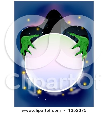Clipart of a Spooky Wizard Holding a Crystal Ball - Royalty Free Vector Illustration by BNP Design Studio