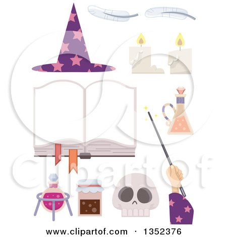 Clipart of a Wizard Hand and Accessories - Royalty Free Vector Illustration by BNP Design Studio