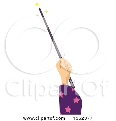 Clipart of a Wizard Hand Using a Magic Wand - Royalty Free Vector Illustration by BNP Design Studio