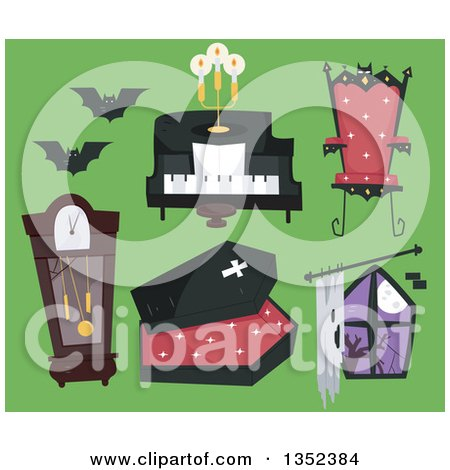 Clipart of Vampire Items on Green - Royalty Free Vector Illustration by BNP Design Studio