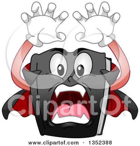 Clipart of a Cartoon Vampire Book Attacking - Royalty Free Vector Illustration by BNP Design Studio
