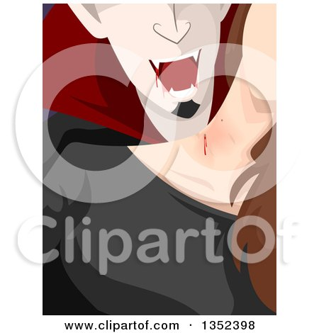 Clipart of a Vampire Feeding off of a Woman's Neck - Royalty Free Vector Illustration by BNP Design Studio