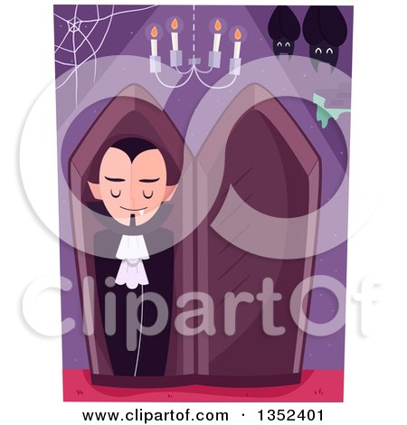 Clipart of a Vampire in a Coffin, with Bats and a Chandelier - Royalty Free Vector Illustration by BNP Design Studio
