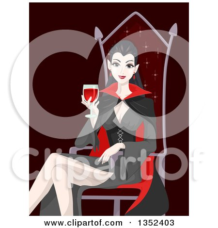 Clipart of a Vampiress Drinking Blood and Sitting in a Chair - Royalty Free Vector Illustration by BNP Design Studio
