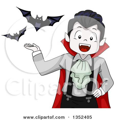 Clipart of a Vampires Boy Presenting Bats - Royalty Free Vector Illustration by BNP Design Studio
