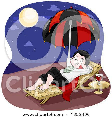 Clipart of a Vampires Boy Moon Bathing on a Beach at Night - Royalty Free Vector Illustration by BNP Design Studio