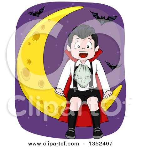Clipart of a Vampires Boy Sitting on a Crescent Moon, Surrounded by Bats - Royalty Free Vector Illustration by BNP Design Studio