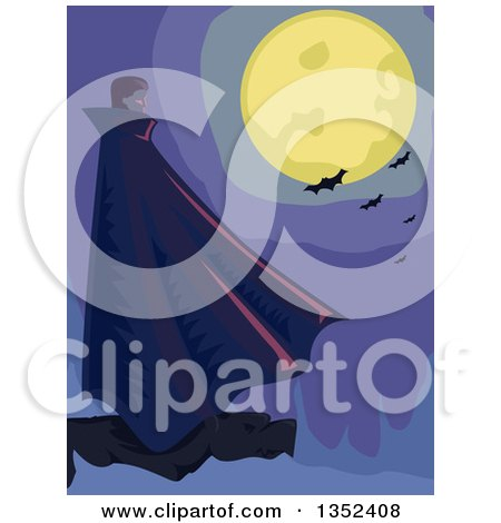 Clipart of a Male Vampire Standing on a Cliff Under a Full Moon with Bats - Royalty Free Vector Illustration by BNP Design Studio