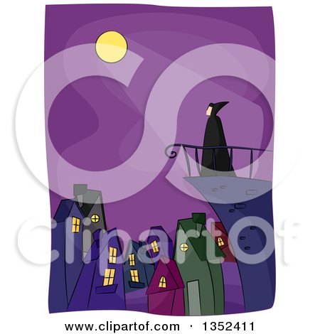 Clipart of a Vampire on a Terrace over a City, with Moon Light Shining down - Royalty Free Vector Illustration by BNP Design Studio