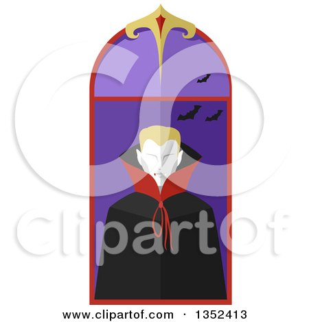 Clipart of a Blond Vamipire in a Window - Royalty Free Vector Illustration by BNP Design Studio