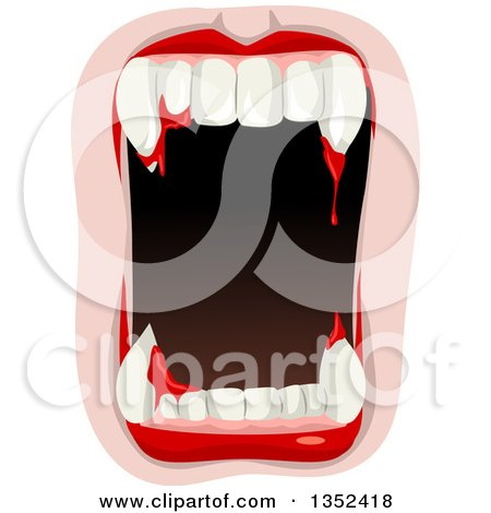 Clipart of a Vampire Mouth with Blood Dripping from the Fangs - Royalty Free Vector Illustration by BNP Design Studio