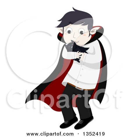 Clipart of a Vampire Boy Cuddling a Pet Bat - Royalty Free Vector Illustration by BNP Design Studio