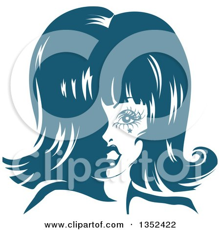 Clipart of a Drag Queen Striking a Pose, in Blue Tones - Royalty Free Vector Illustration by BNP Design Studio