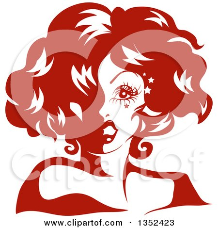 Clipart of a Drag Queen Striking a Pose, in Red Tones - Royalty Free Vector Illustration by BNP Design Studio