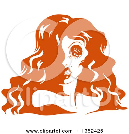 Clipart of a Drag Queen Striking a Pose, in Orange Tones - Royalty Free Vector Illustration by BNP Design Studio