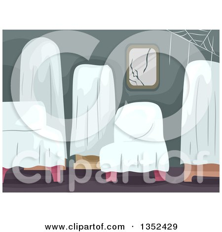 Clipart of Furniture Covered with White Sheets in an Abandoned Home - Royalty Free Vector Illustration by BNP Design Studio